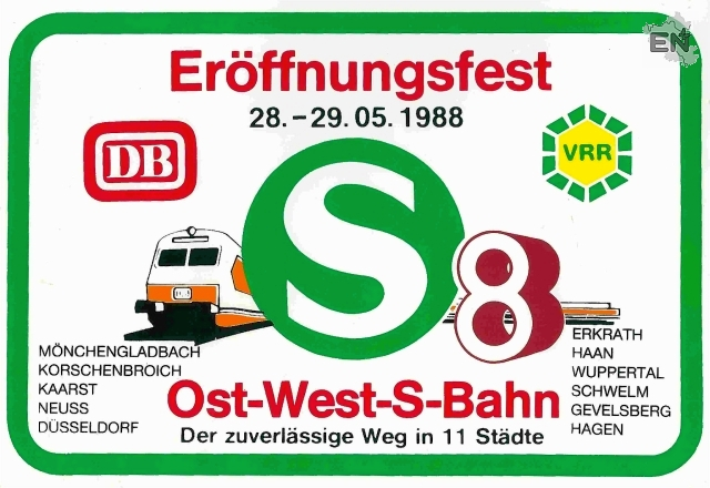 12-Gevelsberg S8 Aufkleber zur Eröffnung der S-Bahn Strecke - S 8 - 1988